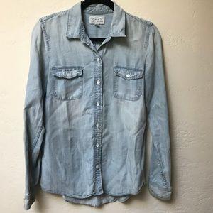 Long Sleeve Chambray Snap Shirt